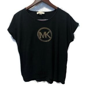 Michael Kors black short sleeve tee with gold logo